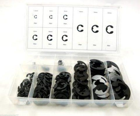 300pc Metric External Circlip E Clip Retaining Snap On Ring Assortment Set