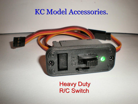 Heavy Duty RC Switch LED Receiver Battery  On Off Futaba JR Connectors Lead UK.