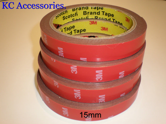 3M x 15MM CAR AUTO ACRYLIC FOAM DOUBLE SIDED ADHESIVE ATTACHMENT TAPE UK STOCK