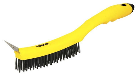 "13"" 3 Row Steel Wire Brush with Scraper Rust Removal Paint & Scale Long Handle"