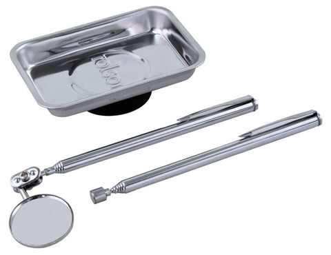 Rolson 3 Piece Magnetic Steel Tray Telescopic Pickup Tool Inspection Mirror