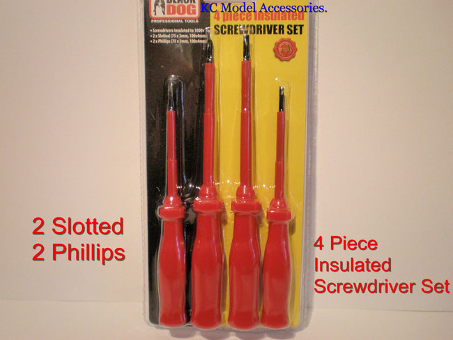 4 Piece Insulated Screwdriver Set 2 x Slotted 2x Phillips 1000v