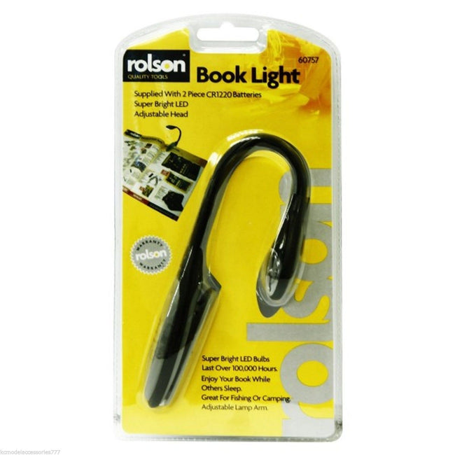 Rolson LED Flexible Book & Kindle Light Reading Torch With Clip-On Bookmark Lamp