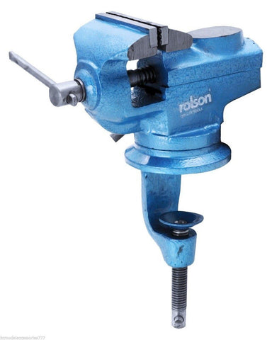 Rolson Swivel Table 360* Vice & Anvil 60mm Jaw Table/Bench Clamp + T Bar