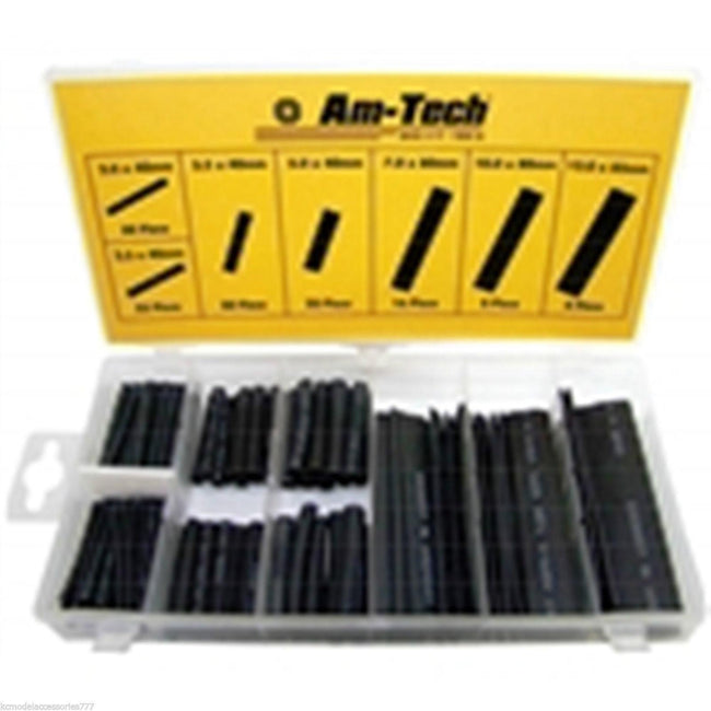127 PIECE HEAT SHRINK WIRE WRAP ASSORTMENT TUBING BLACK BOXED SET