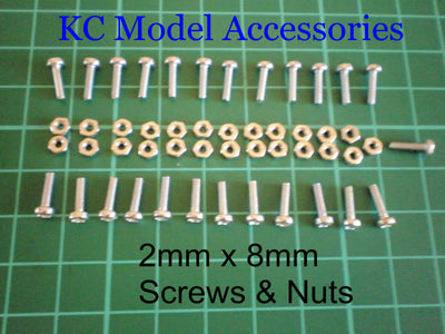 2mm x 8mm Machine Screws and Nuts x 25 Nuts and Bolts