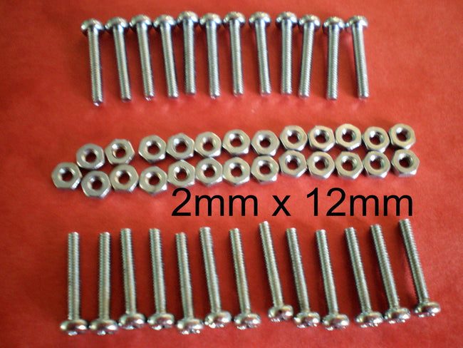2mm x 12mm Screws and Nuts x 25 Nuts and Bolts