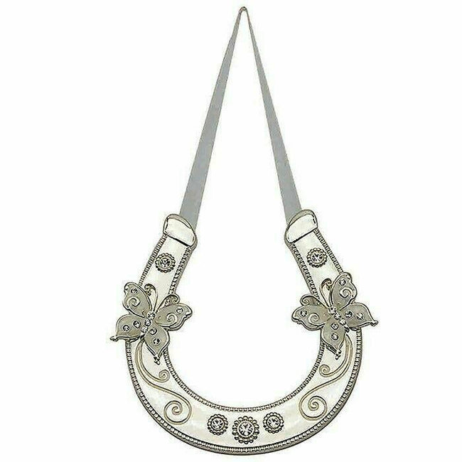 Lucky Wedding Horse Shoe Diamante Butterfly's Silver Plate Gift Boxed 45534