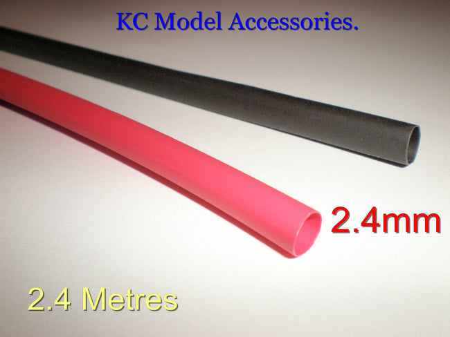 Heat Shrink Tubing Sleeve Wrap Black & Red 2.4mm x 2.4metres Total.