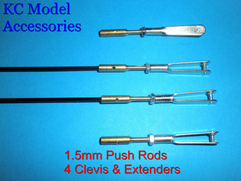 1.5mm Push Rods Carbon Fibre 4 Clevises & Couplers.