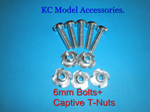 6mm x 25mm Screw Bolts and Captive T-Nuts M6.