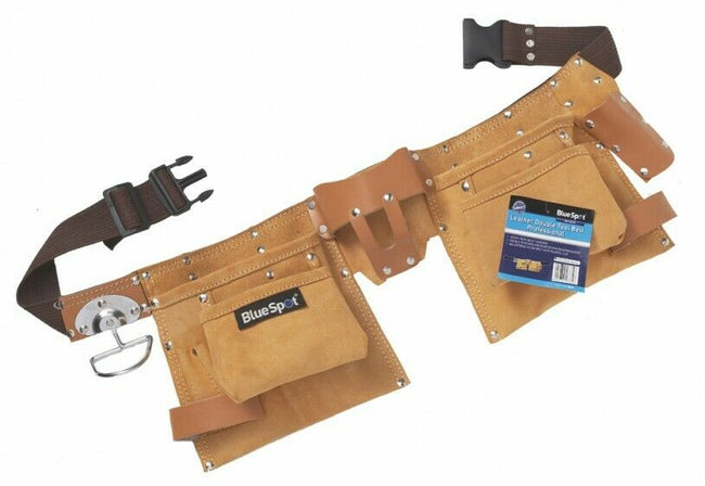 Tool Belt Double Pouch Heavy Duty 10 Pocket Leather Trade & DIY Good Quality