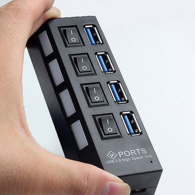 USB 3.0 HUB 4 Ports 5GBPS Super Fast Speed Compact External For PC Laptop