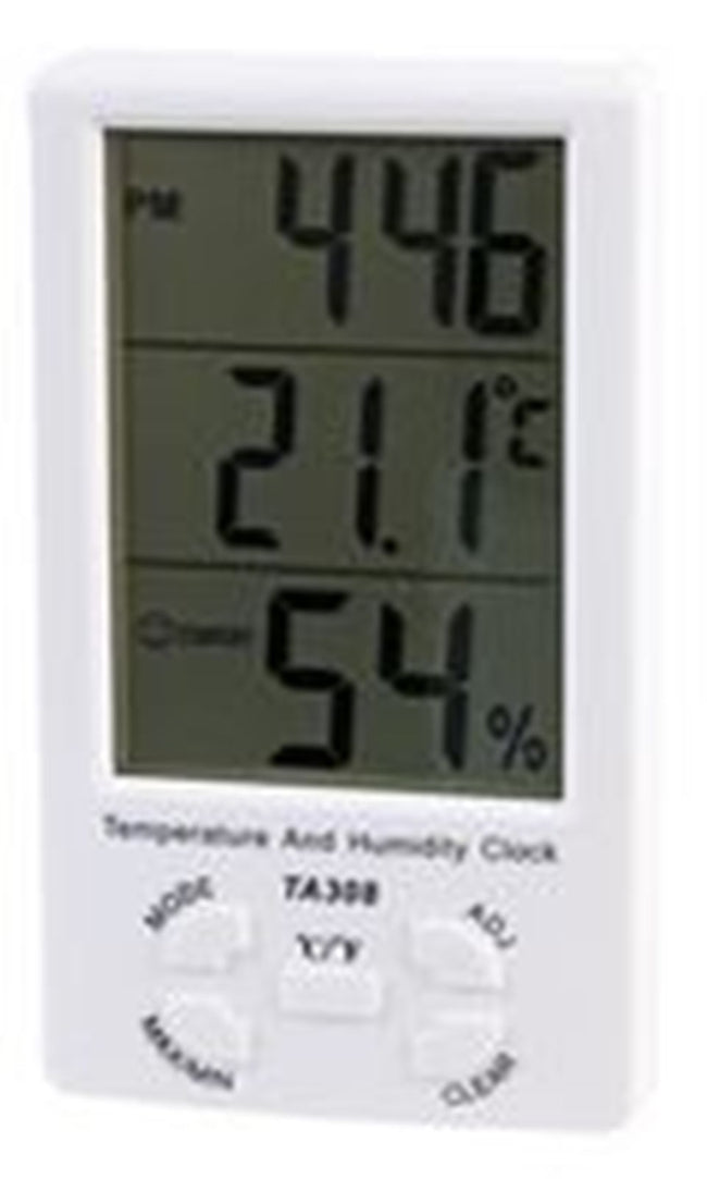 Temperature And Humidity Clock Digital Indoor Hygrometer With Alarm Large LCD