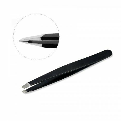 Professional Eyebrow Tweezers Black Slanted Stainless Steel Tweezers Hair/Crafts