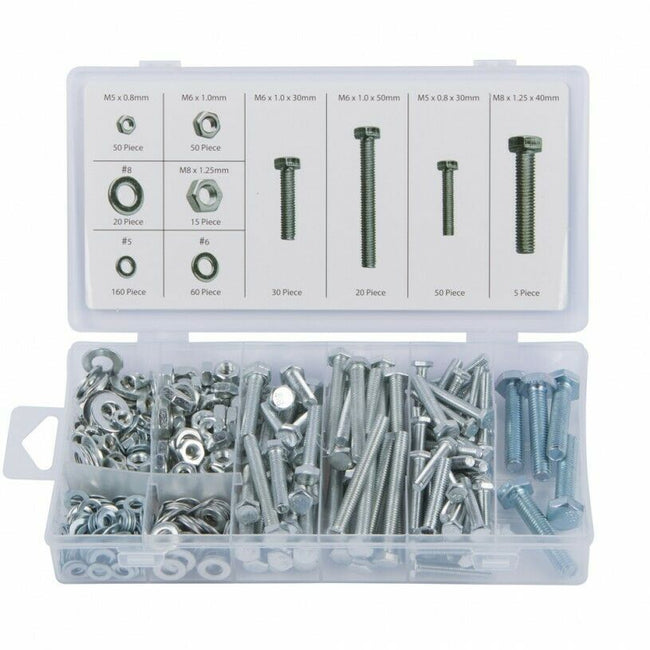 Nuts, Bolts & Washer Set M5 M6 M8 Zinc Plated Rust Free in Storage Case 460pcs