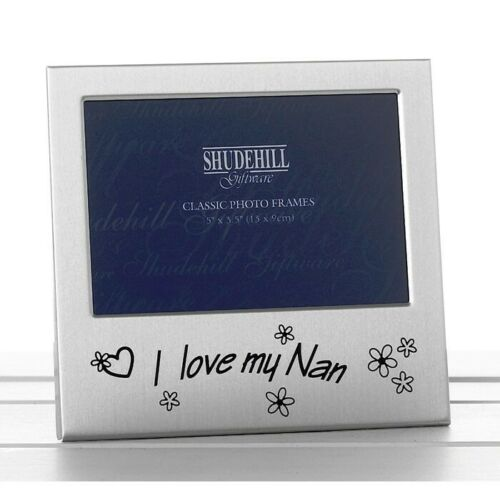 Photo Picture Frame Satin Silver I Love My NAN Gift Free Standing 72226