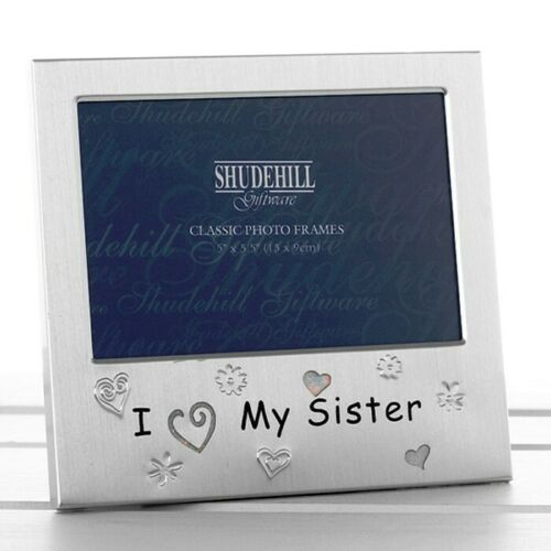 Photo Frame I Love My Sister Satin Silver Brushed Silver Free Standing 72053