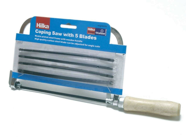 "Coping Saw 7"" With 5 Spare Blades & Wooden Handle Good Quality Saw."