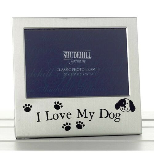 "Photo Frame I Love My Dog Satin Silver 5"" x 3.5"" Dog Gift Lover Pet 73497"