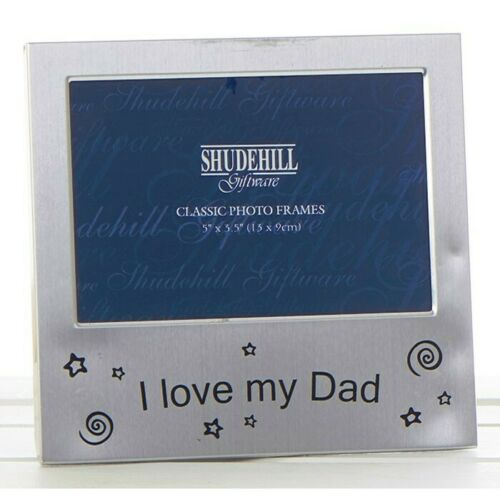 Photo Picture Frame I Love My DAD Satin Silver Free Standing Birthday Xmas 72273