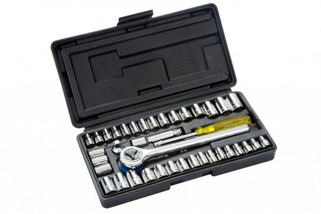 "Socket Set 40 Pcs 1/4"" & 3/8"" Drive Metric & Imperial With Ratchet Ext In a Case"