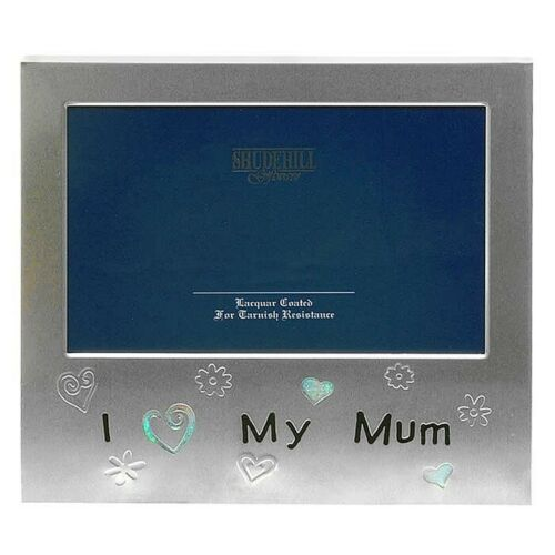 "Photo Frame I Love My Mum Satin Silver Free Standing 5"" x 3.5"" Picture 72453"