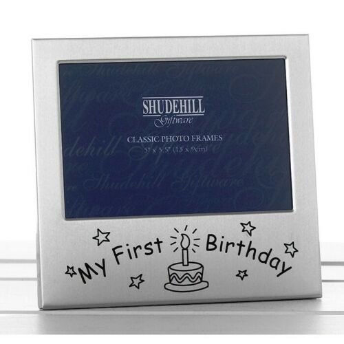 "Photo Frame""My First Birthday"" Satin Silver 5x3 Velvet Back Shudehill Giftware"