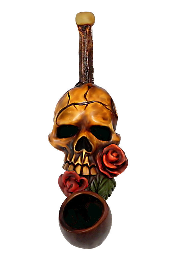 Resin Pipe - Mini - Skull & Rose