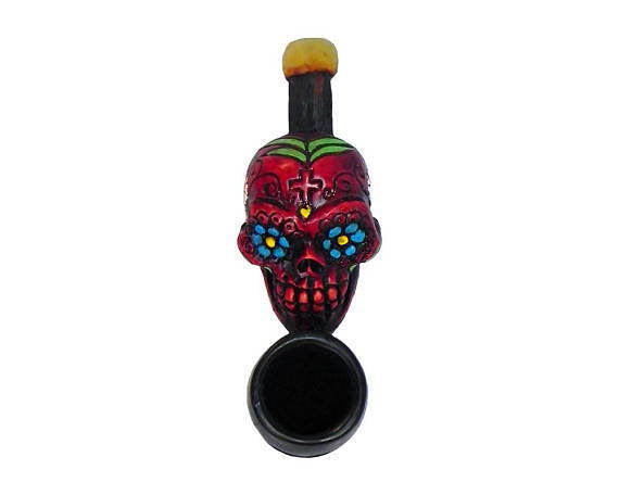 Resin Pipe - Mini - Sugar Skull - Red