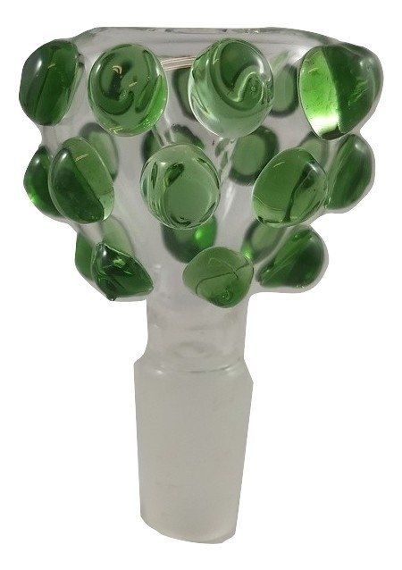 Glass Bowl With Knobs - 14mm - Green