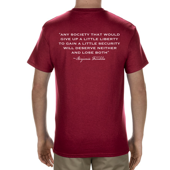 OUR FREEDOM - Benjamin Franklin Quote - Red
