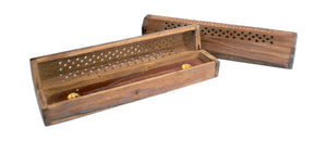Incense Burner Box - Wood w/ Filigree Carving - Head HQ