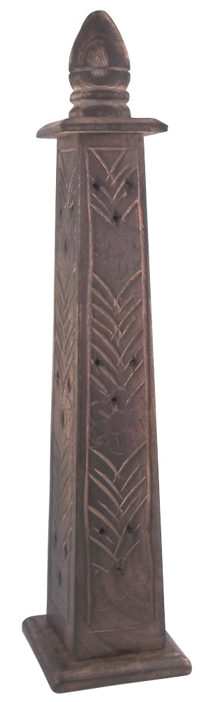 Incense Burner Tower - Wood w/ Flowers Carving - Head HQ