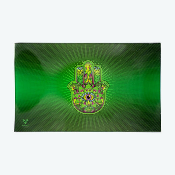 Glass Tray - Medium - Hamsa Green - Head HQ