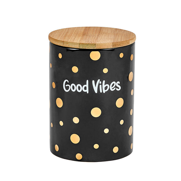 Ceramic Stash Jar - Good Vibes - Black