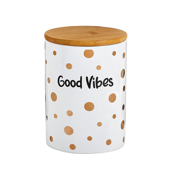 Ceramic Stash Jar - Good Vibes - White