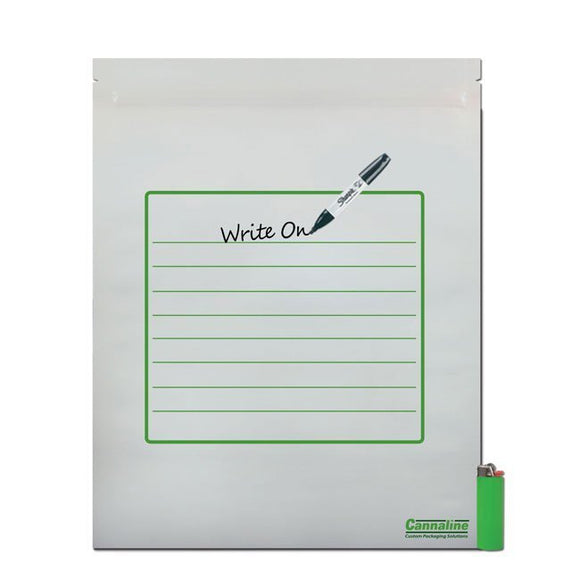 Cannaline 1/2 lb Smell Proof Bag - White Writable Front Clear Back 12 x 15 Inches - Head HQ