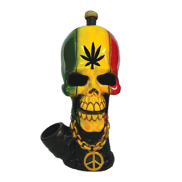 Resin Pipe - Medium - Rasta Skull