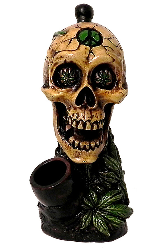 Resin Pipe - Medium - Leaf Eyes Skull