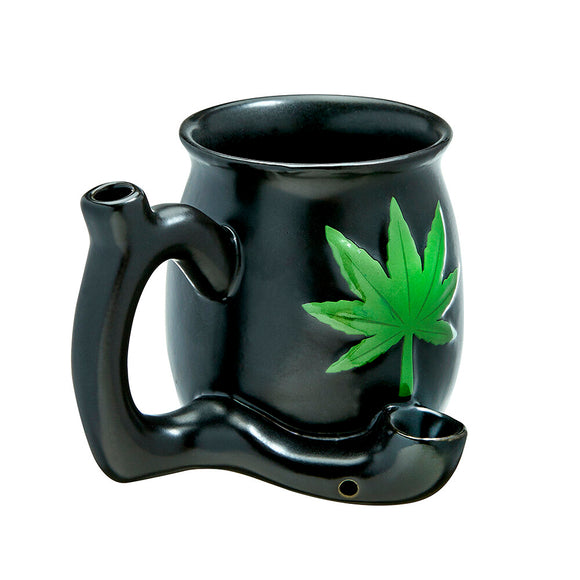 Mug Pipe - Black - Green Leaf
