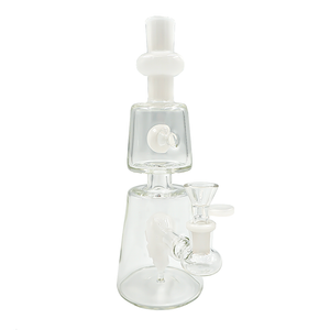 "10"" Glass Bong/Rig w Face Perc - White"