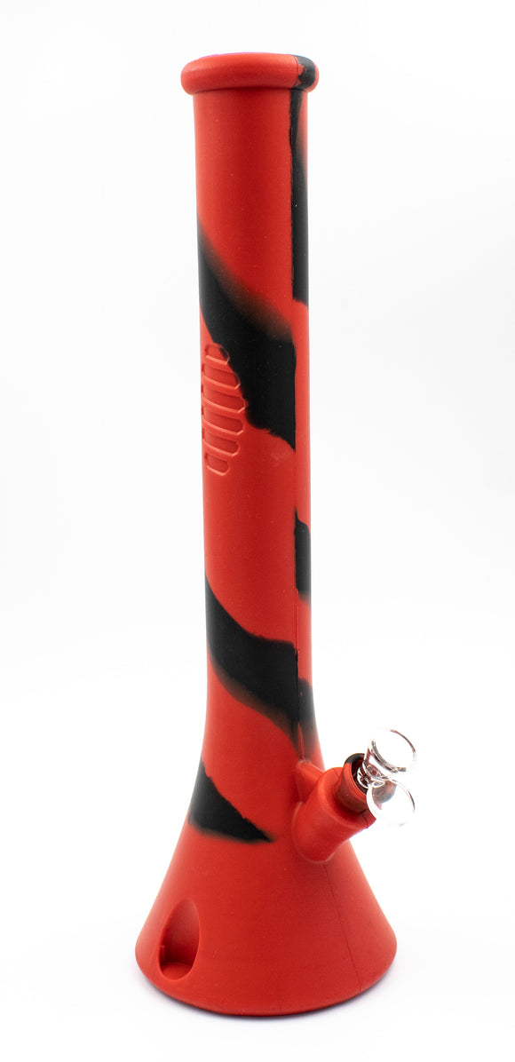 18 Inch Silicone Beaker - Black/Red - Head HQ