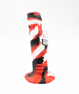 Silicone Bong - Tilted - 2 Piece - Black/Red/White - Head HQ