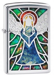 Zippo Lighter - Stained Glass Angel