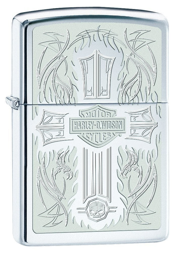 Zippo Lighter - Harley Davidson Engraved Cross