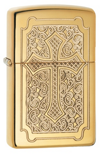 Zippo Lighter - Armor Engraved Cross