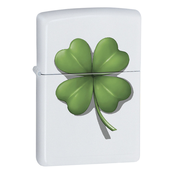 Zippo Lighter - Shamrock on White
