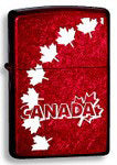 Zippo Lighter - Maple Leaves Red & White
