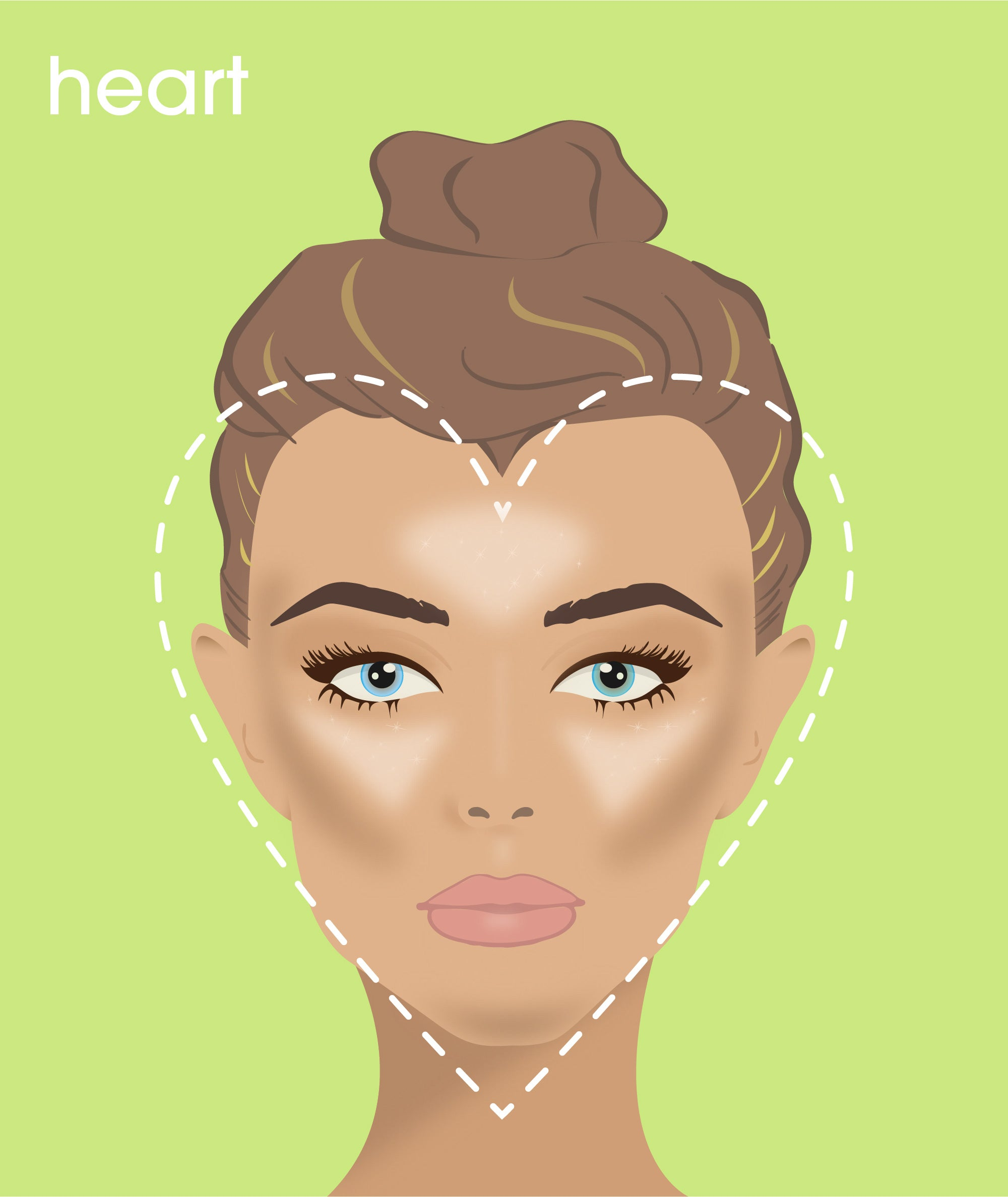 how to contour a heart-shaped face